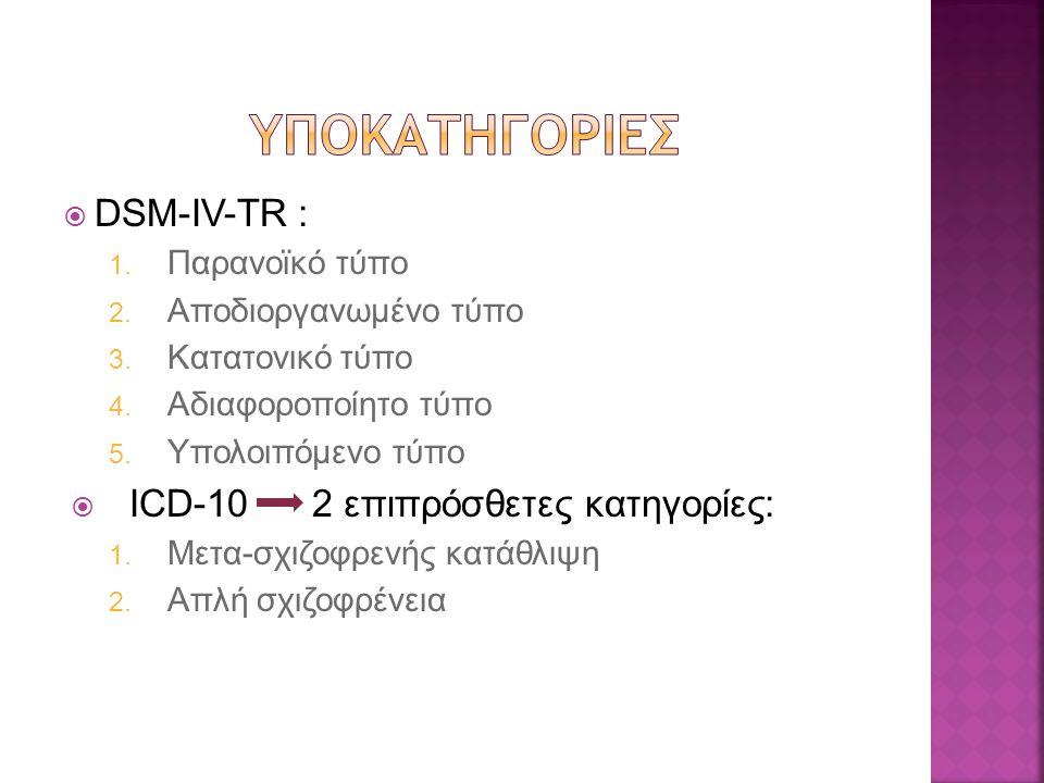 Υποκατηγοριεσ DSM-IV-TR : ICD-10 2 επιπρόσθετες κατηγορίες: