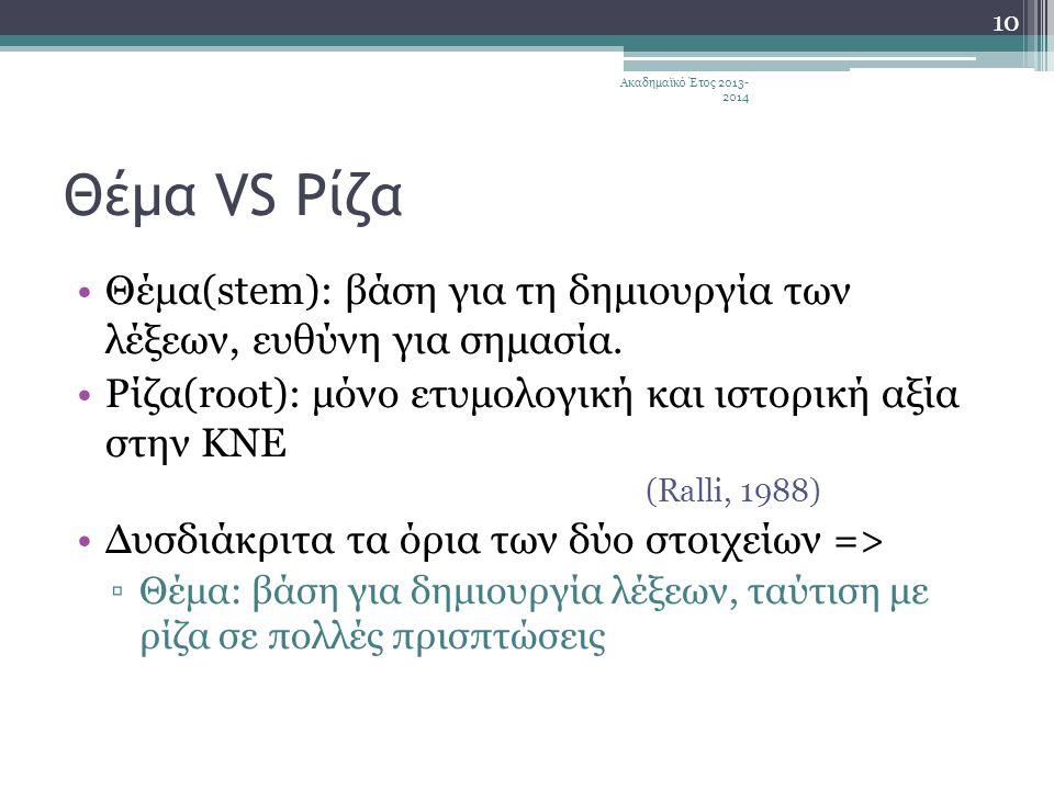 Ακαδημαϊκό Έτος 2013-2014 Θέμα VS Ρίζα. Θέμα(stem): βάση για τη δημιουργία των λέξεων, ευθύνη για σημασία.