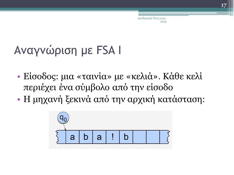 Ακαδημαϊκό Έτος 2013-2014 Αναγνώριση με FSA Ι. Είσοδος: μια «ταινία» με «κελιά». Κάθε κελί περιέχει ένα σύμβολο από την είσοδο.