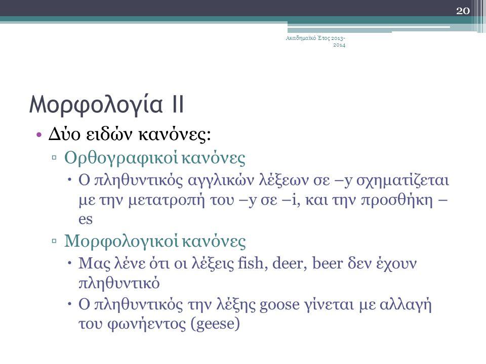 Μορφολογία ΙΙ Δύο ειδών κανόνες: Ορθογραφικοί κανόνες