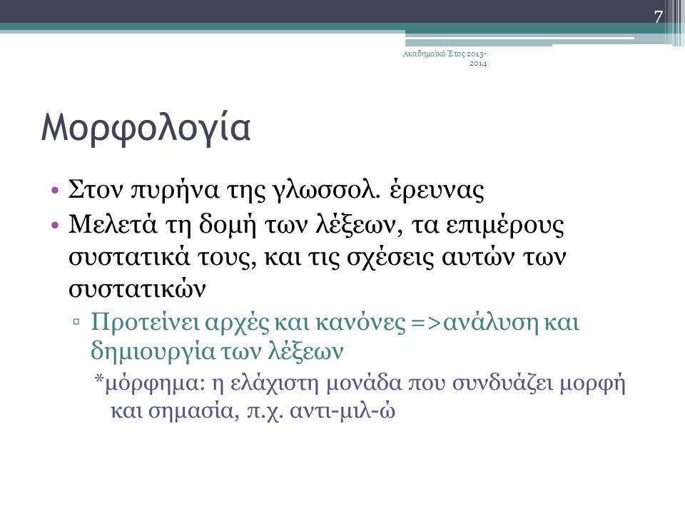 Μορφολογία Στον πυρήνα της γλωσσολ. έρευνας