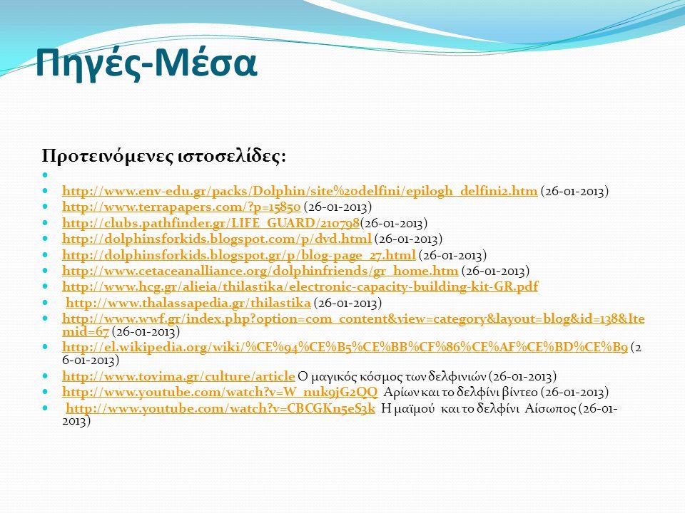 Πηγές-Μέσα Προτεινόμενες ιστοσελίδες: