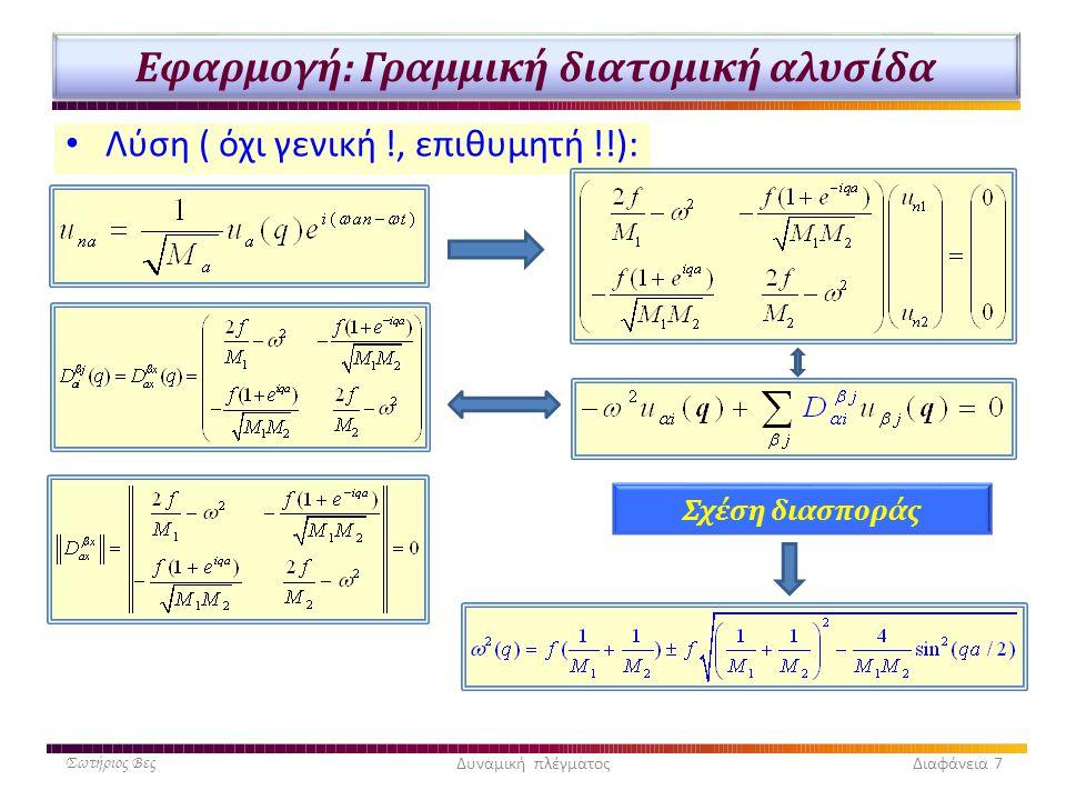 Εφαρμογή: Γραμμική διατομική αλυσίδα