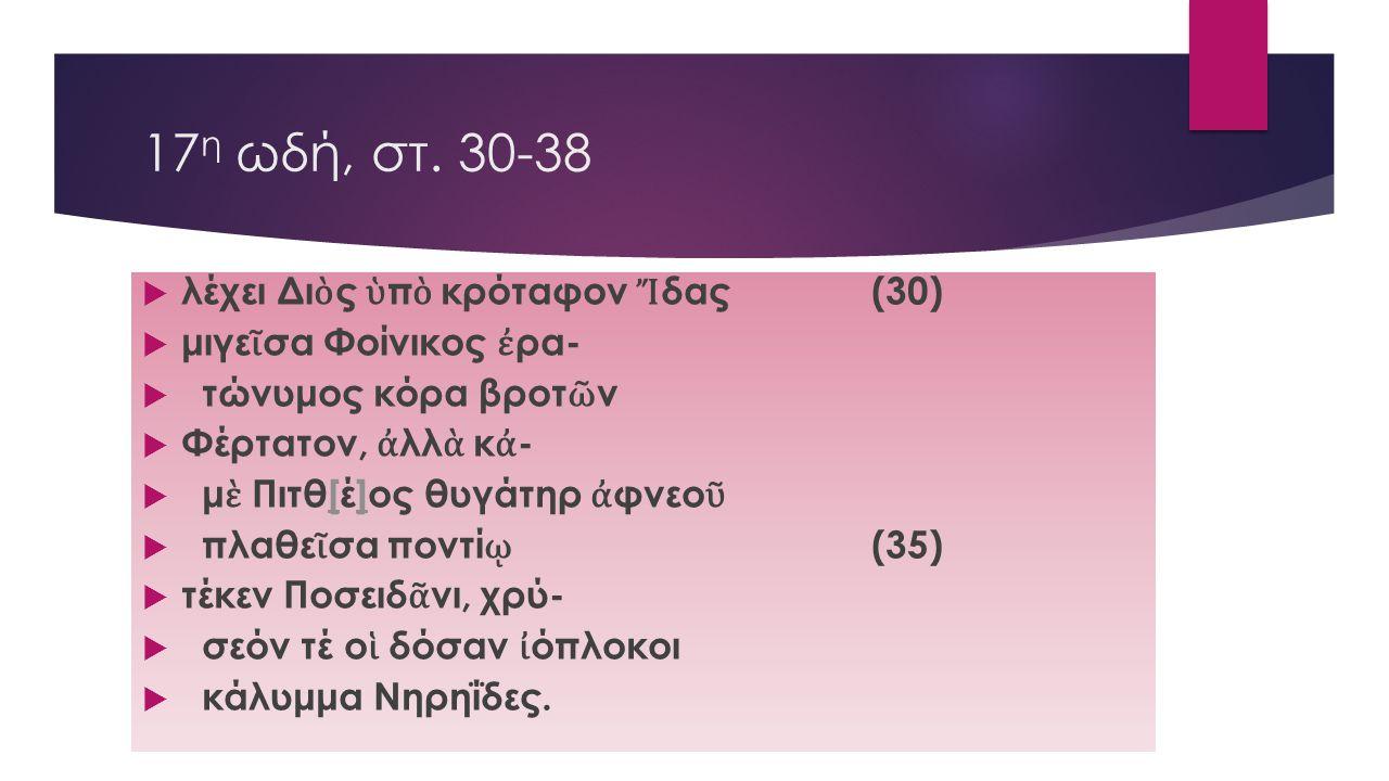 17η ωδή, στ. 30-38 λέχει Διὸς ὑπὸ κρόταφον Ἴδας (30)
