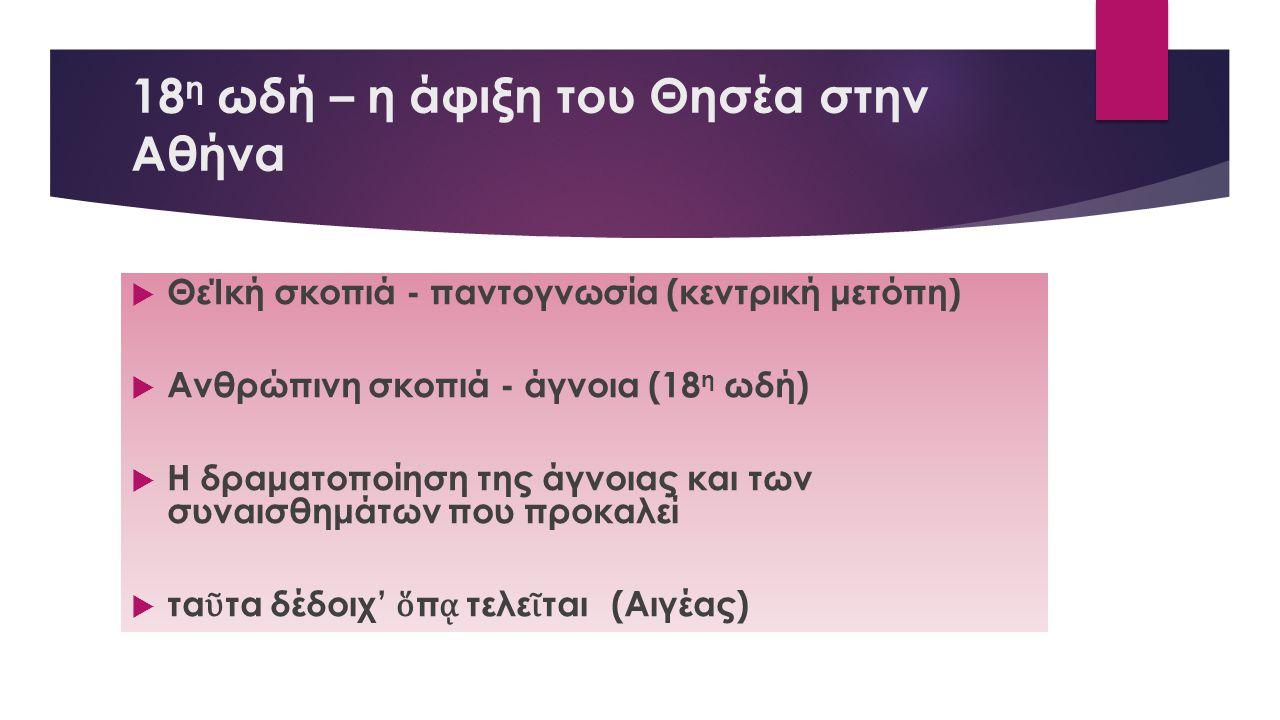 18η ωδή – η άφιξη του Θησέα στην Αθήνα