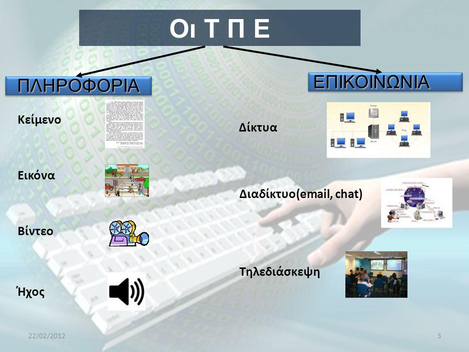Οι Τ Π Ε ΕΠΙΚΟΙΝΩΝΙΑ ΠΛΗΡΟΦΟΡΙΑ Κείμενο Δίκτυα Εικόνα