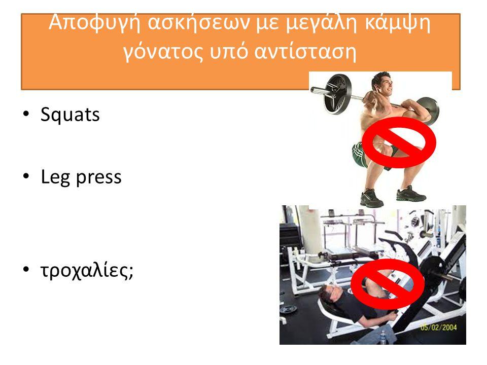 Αποφυγή ασκήσεων με μεγάλη κάμψη γόνατος υπό αντίσταση