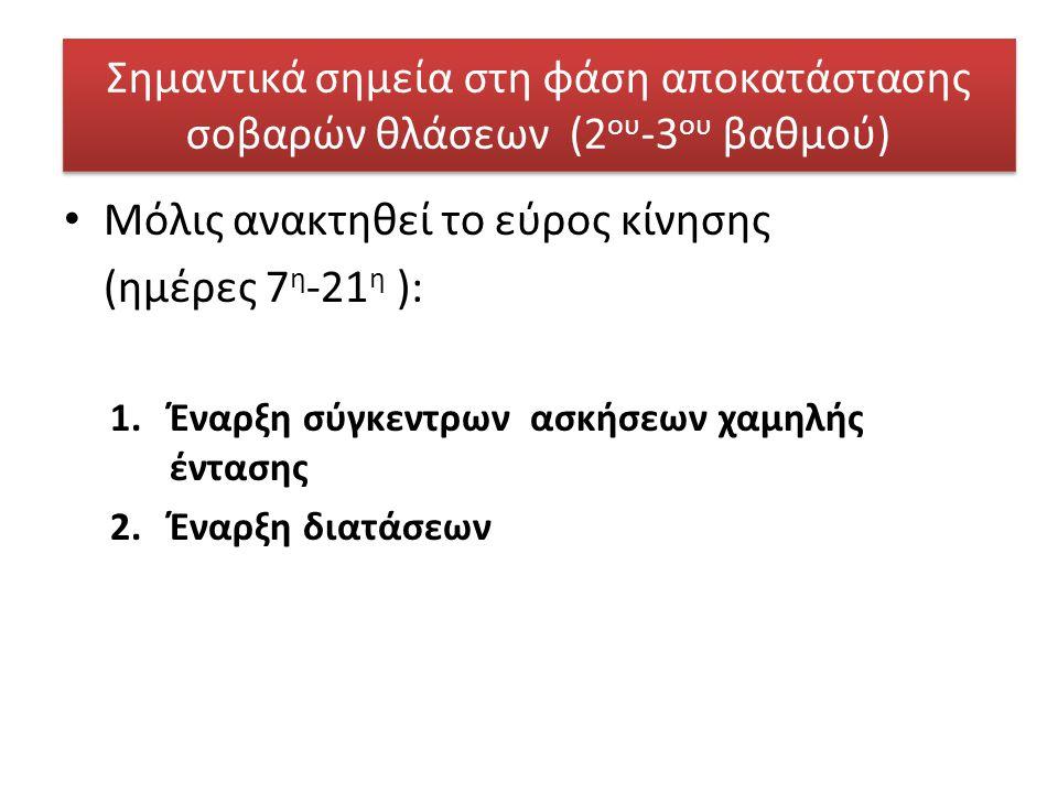 Μόλις ανακτηθεί το εύρος κίνησης (ημέρες 7η-21η ):