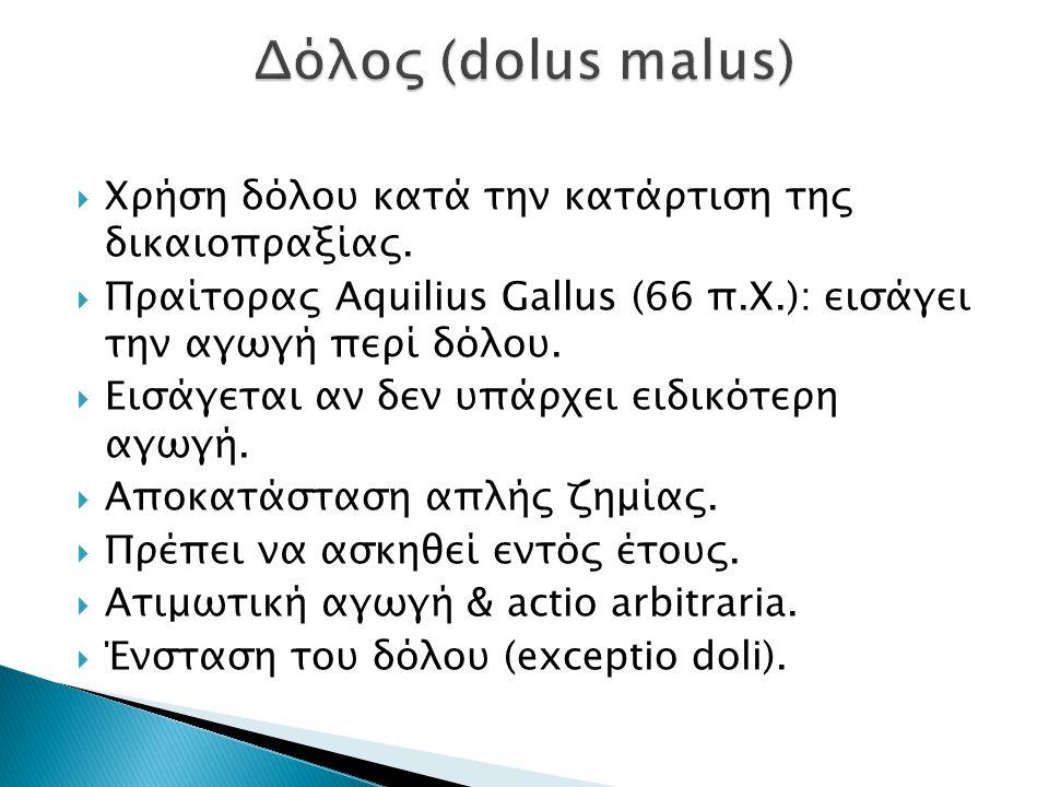 Δόλος (dolus malus) Χρήση δόλου κατά την κατάρτιση της δικαιοπραξίας.