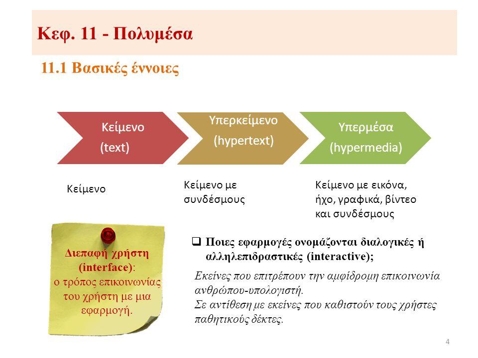 Κεφ. 11 - Πολυμέσα 11.1 Βασικές έννοιες Κείμενο (text) Υπερκείμενο