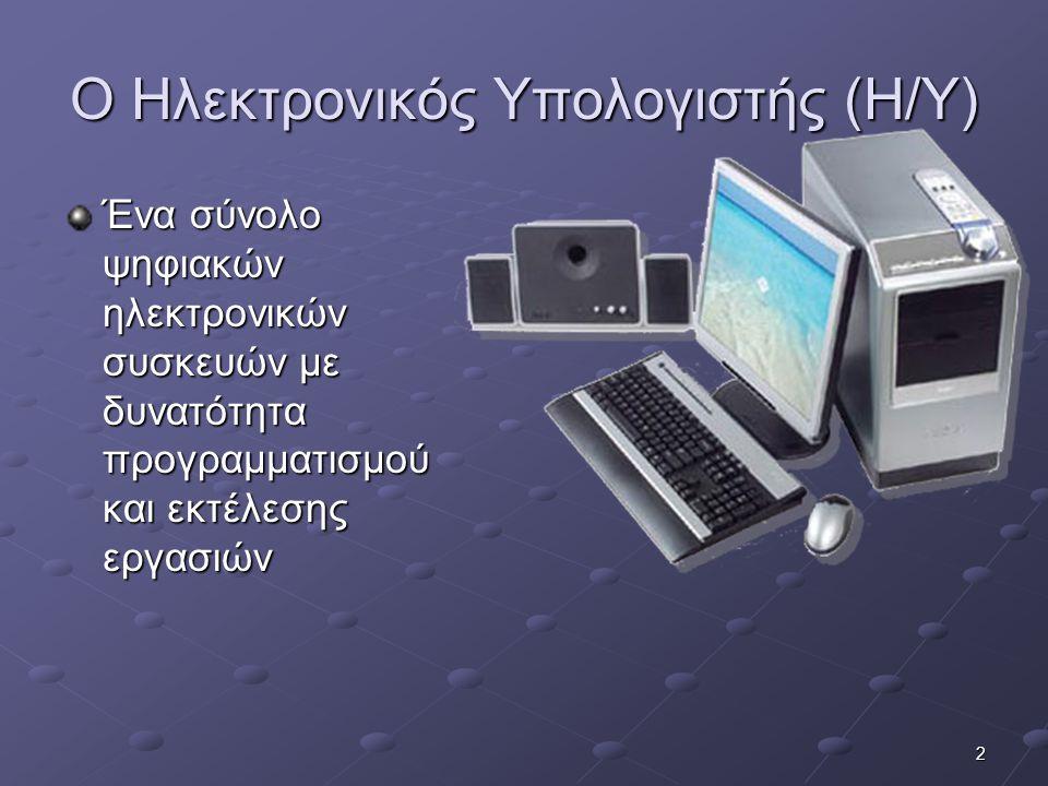 Ο Ηλεκτρονικός Υπολογιστής (Η/Υ)
