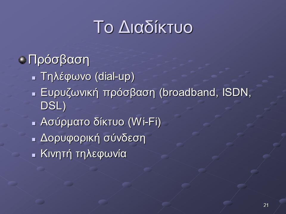 Το Διαδίκτυο Πρόσβαση Τηλέφωνο (dial-up)