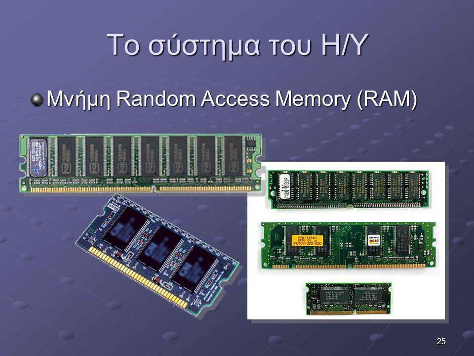 Το σύστημα του Η/Υ Μνήμη Random Access Memory (RAM)