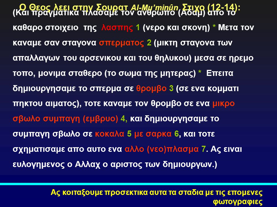Ο Θεος λεει στην Σουρατ Al-Mu'minûn Στιχο (12-14):