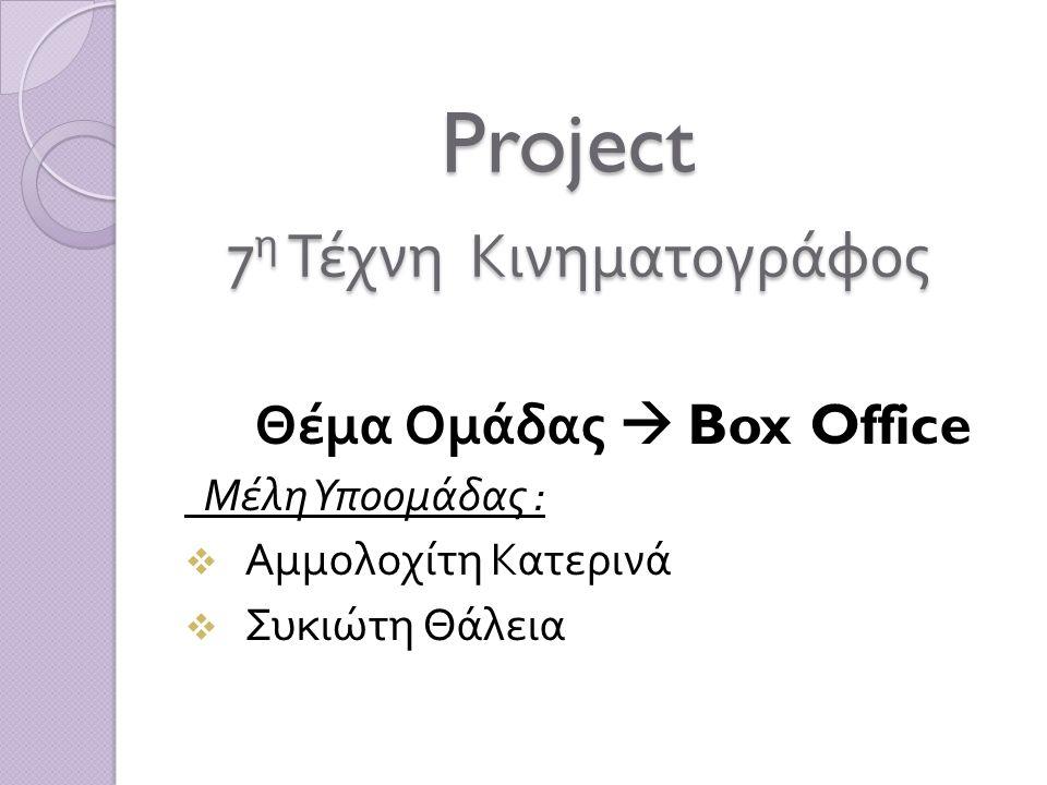 Project 7η Τέχνη Κινηματογράφος