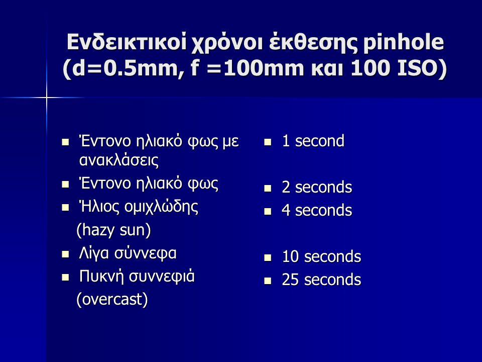 Ενδεικτικοί χρόνοι έκθεσης pinhole (d=0.5mm, f =100mm και 100 ISO)