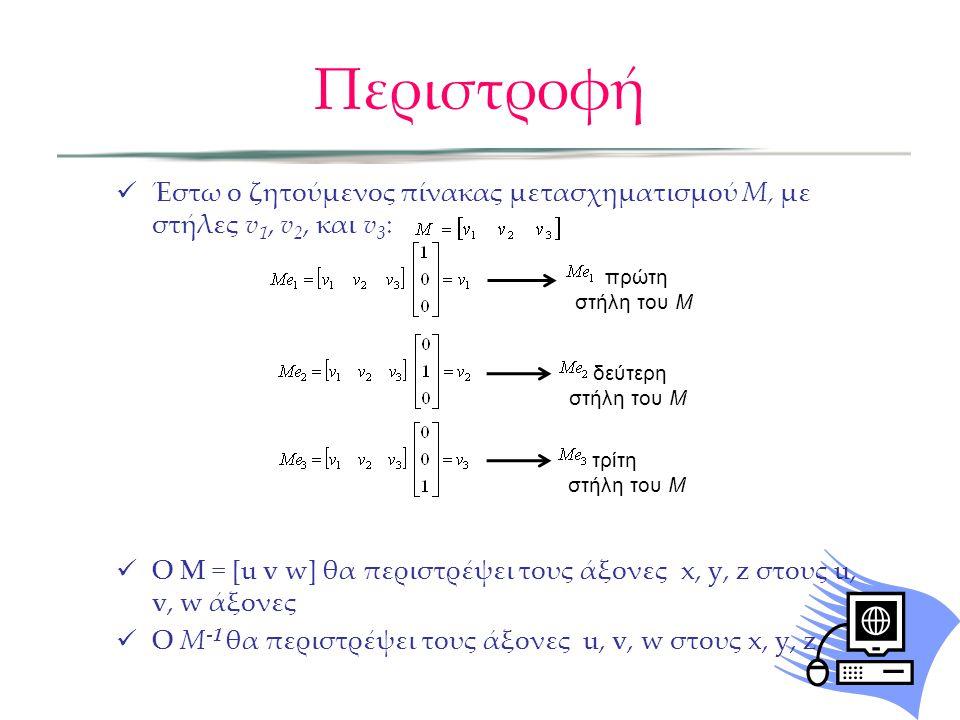 Περιστροφή Έστω ο ζητούμενος πίνακας μετασχηματισμού M, με στήλες v1, v2, και v3: