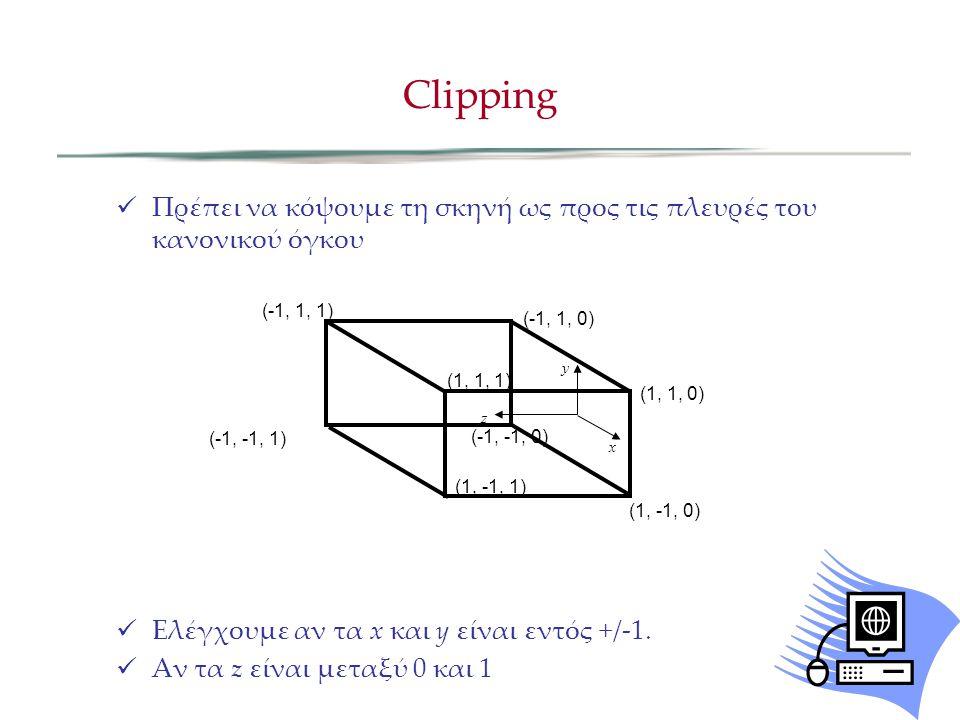Clipping Πρέπει να κόψουμε τη σκηνή ως προς τις πλευρές του κανονικού όγκου. Ελέγχουμε αν τα x και y είναι εντός +/-1.