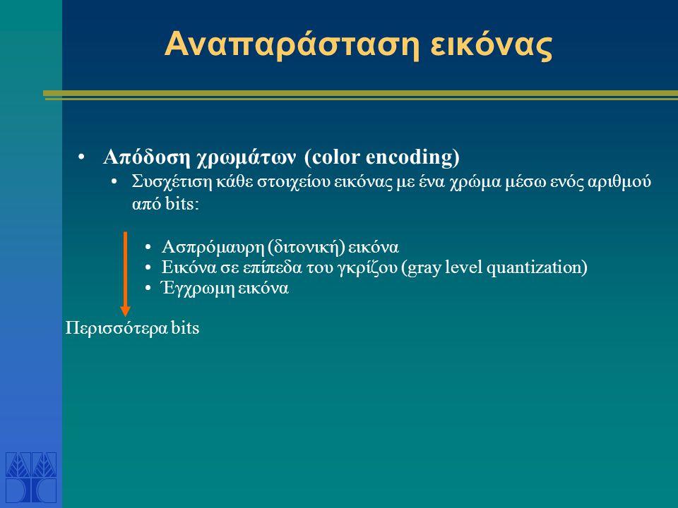 Αναπαράσταση εικόνας Απόδοση χρωμάτων (color encoding)