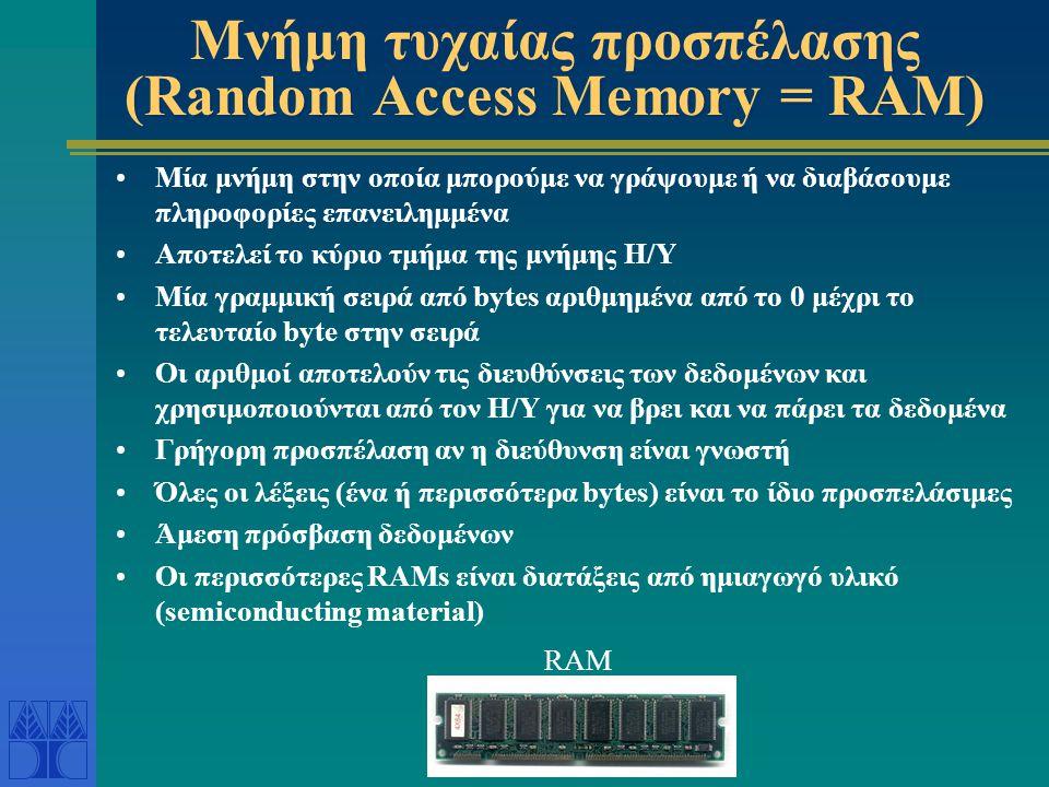 Μνήμη τυχαίας προσπέλασης (Random Access Memory = RAM)