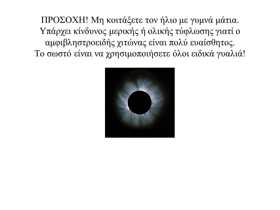 ΠΡΟΣΟΧΗ. Μη κοιτάξετε τον ήλιο με γυμνά μάτια
