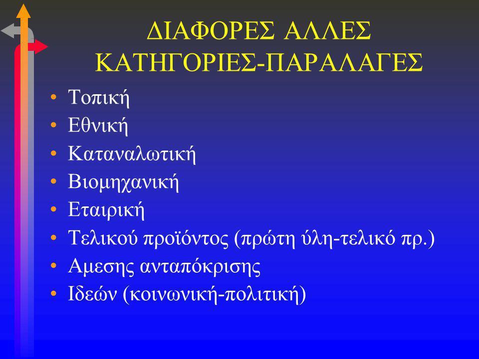 ΔΙΑΦΟΡΕΣ ΑΛΛΕΣ ΚΑΤΗΓΟΡΙΕΣ-ΠΑΡΑΛΑΓΕΣ