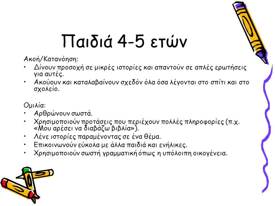 Παιδιά 4-5 ετών Ακοή/Κατανόηση: