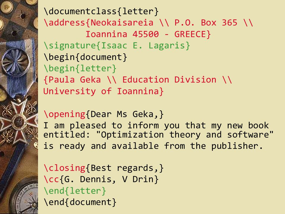 \documentclass{letter}