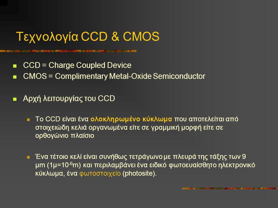 Τεχνολογία CCD & CMOS CCD = Charge Coupled Device