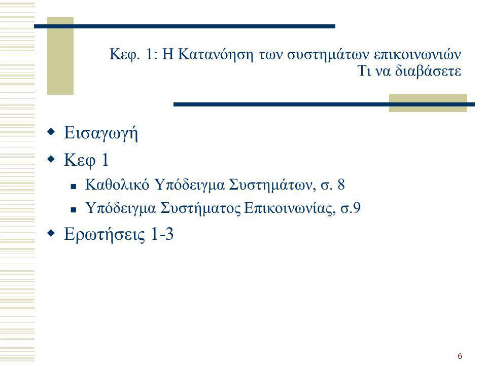 Κεφ. 1: Η Κατανόηση των συστημάτων επικοινωνιών Τι να διαβάσετε