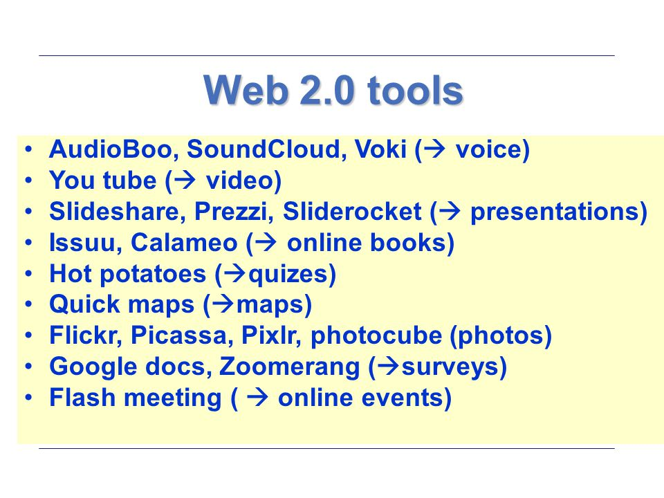 Web 2.0 tools AudioBoo, SoundCloud, Voki ( voice) You tube ( video) Slideshare, Prezzi, Sliderocket ( presentations)