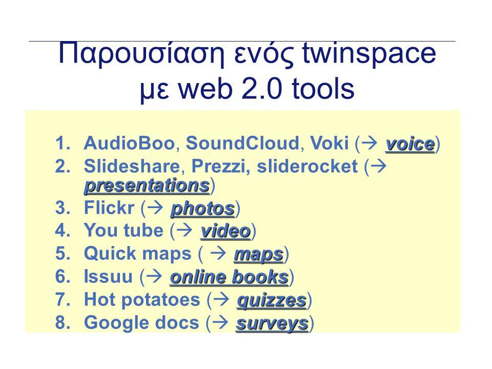 Παρουσίαση ενός twinspace με web 2.0 tools