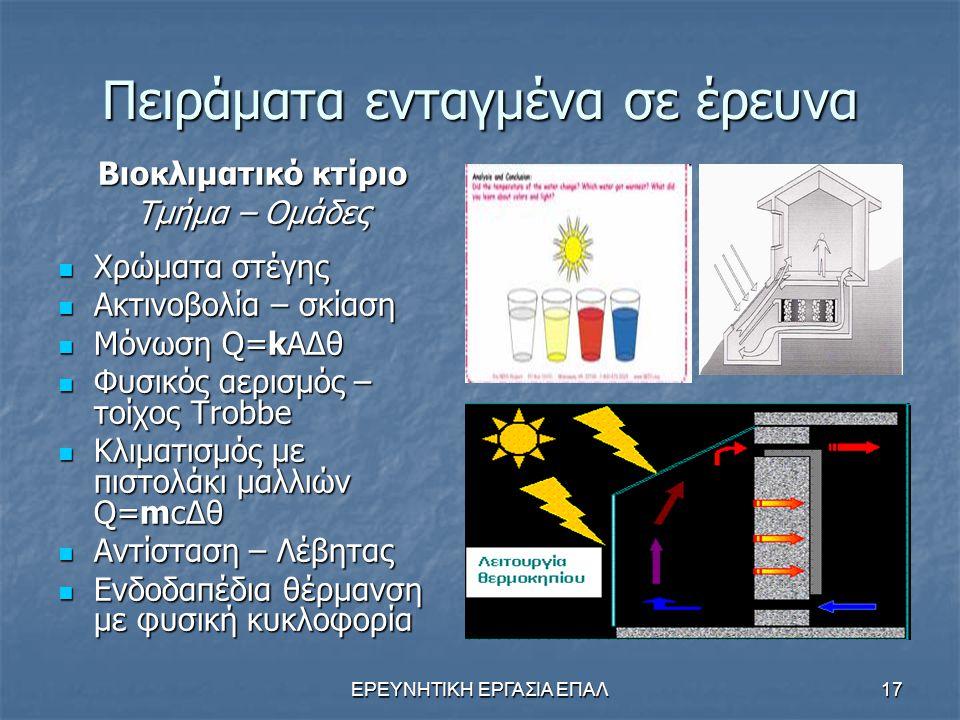 Πειράματα ενταγμένα σε έρευνα