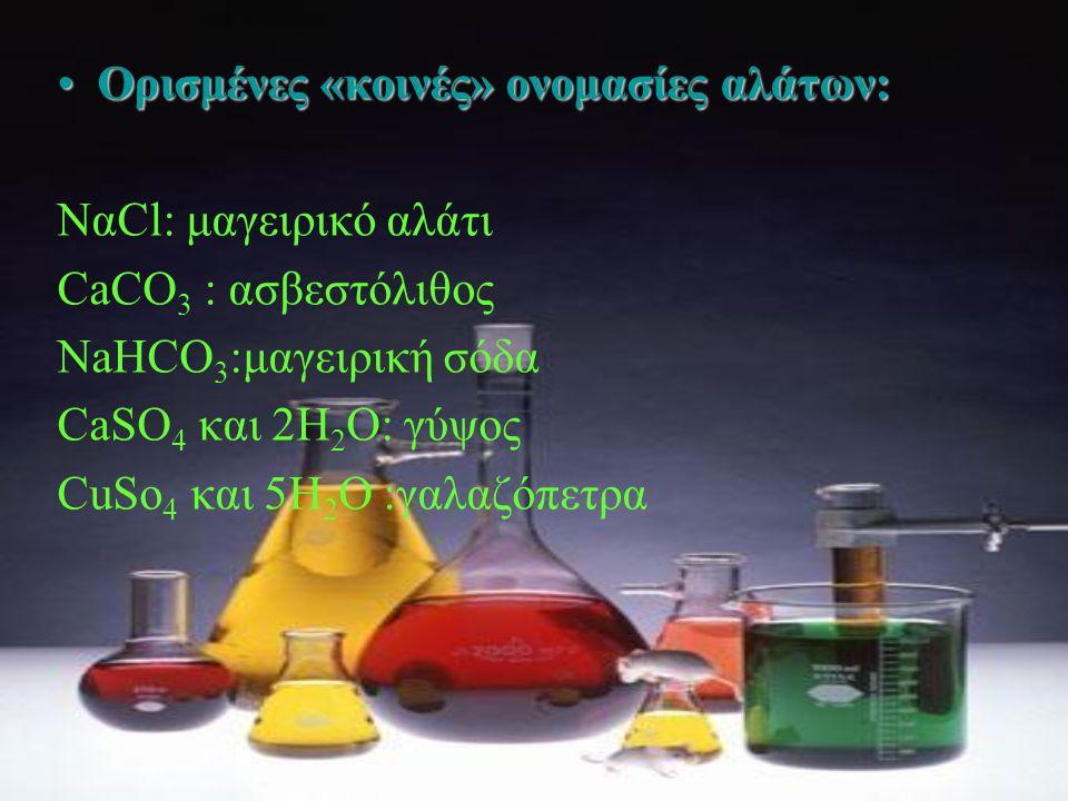 Ορισμένες «κοινές» ονομασίες αλάτων: