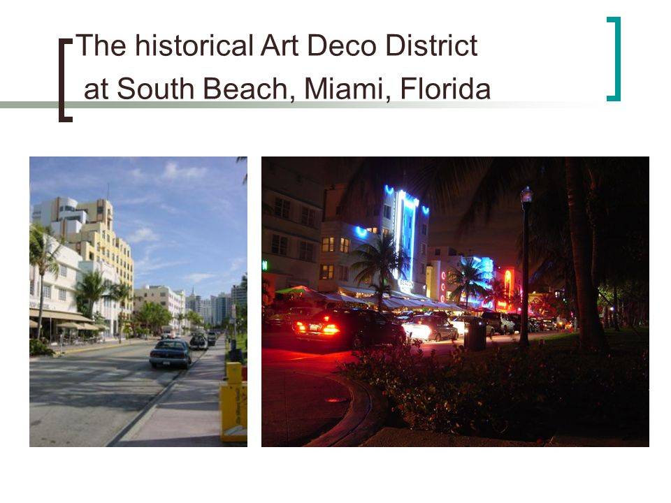 The historical Art Deco District at South Beach, Miami, Florida