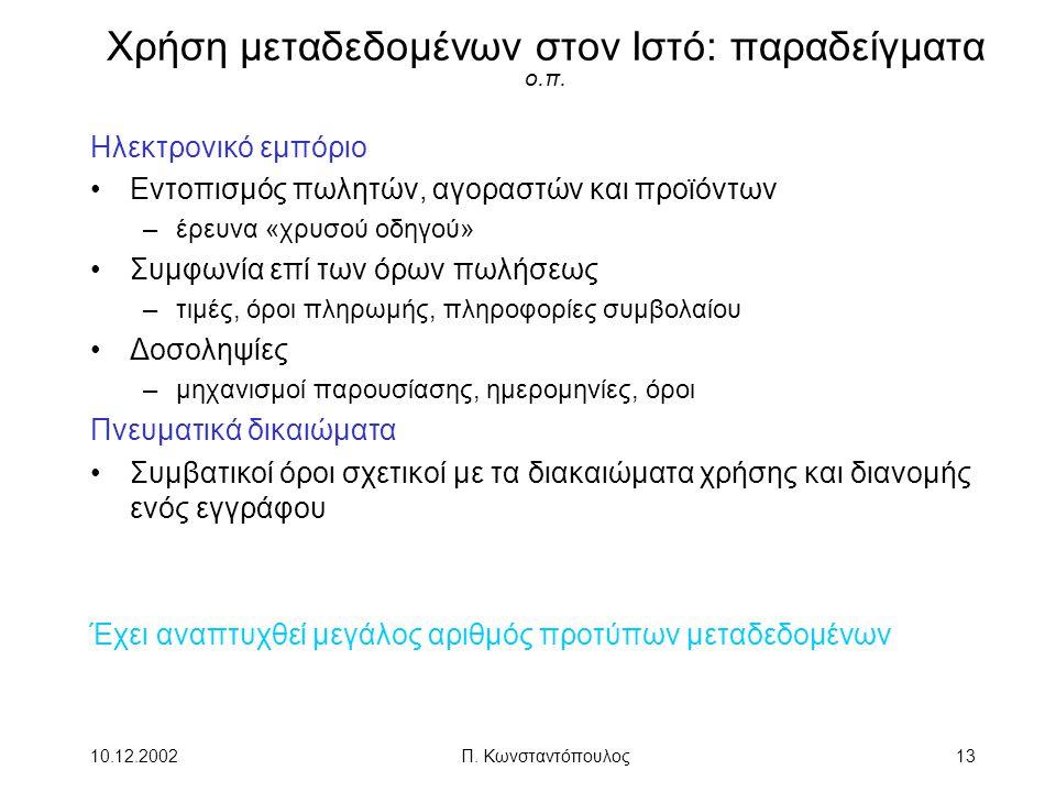 Χρήση μεταδεδομένων στον Ιστό: παραδείγματα ο.π.