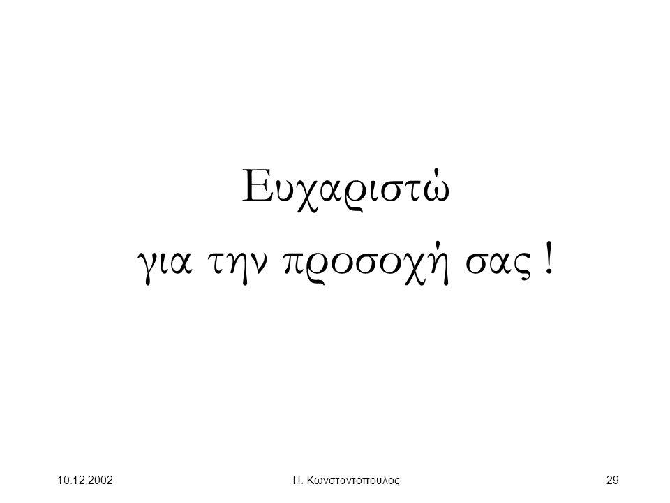 Ευχαριστώ για την προσοχή σας ! 10.12.2002 Π. Κωνσταντόπουλος