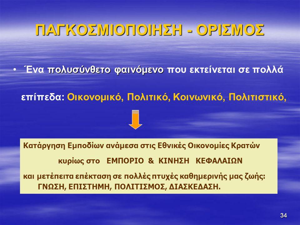 ΠΑΓΚΟΣΜΙΟΠΟΙΗΣΗ - ΟΡΙΣΜΟΣ