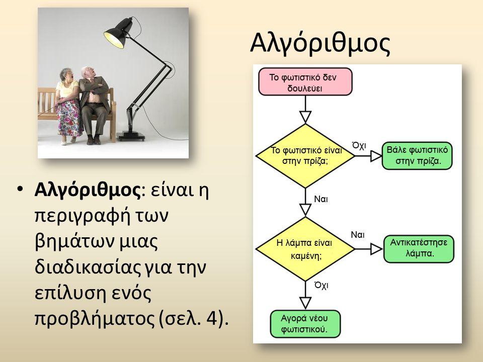 Αλγόριθμος Αλγόριθμος: είναι η περιγραφή των βημάτων μιας διαδικασίας για την επίλυση ενός προβλήματος (σελ.