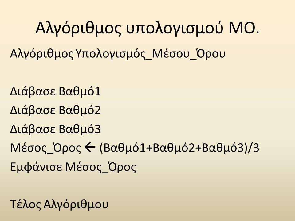 Αλγόριθμος υπολογισμού ΜΟ.