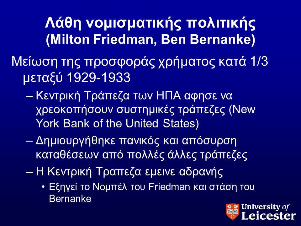 Λάθη νομισματικής πολιτικής (Milton Friedman, Ben Bernanke)