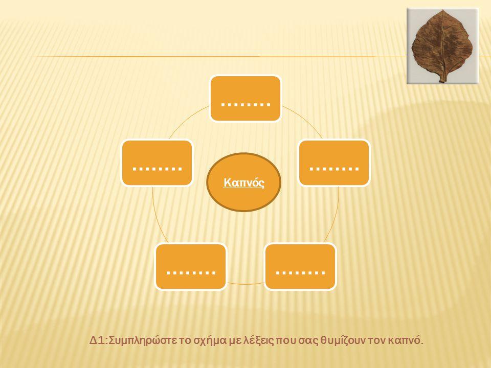 Δ1:Συμπληρώστε το σχήμα με λέξεις που σας θυμίζουν τον καπνό.