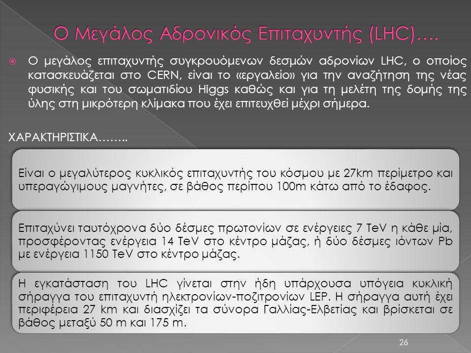 Ο Μεγάλος Αδρονικός Επιταχυντής (LHC)….