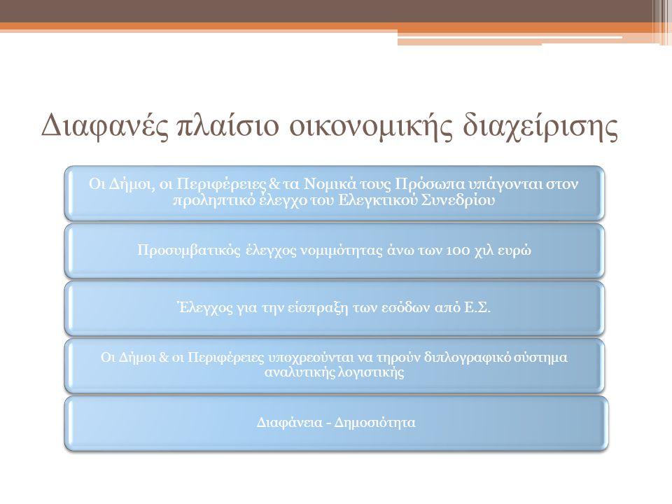 Διαφανές πλαίσιο οικονομικής διαχείρισης