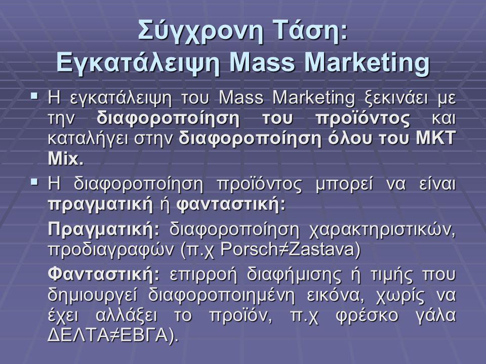 Σύγχρονη Τάση: Εγκατάλειψη Mass Marketing