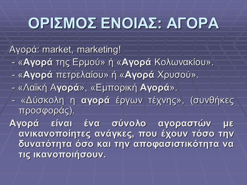 ΟΡΙΣΜΟΣ ΕΝΟΙΑΣ: ΑΓΟΡΑ Αγορά: market, marketing!