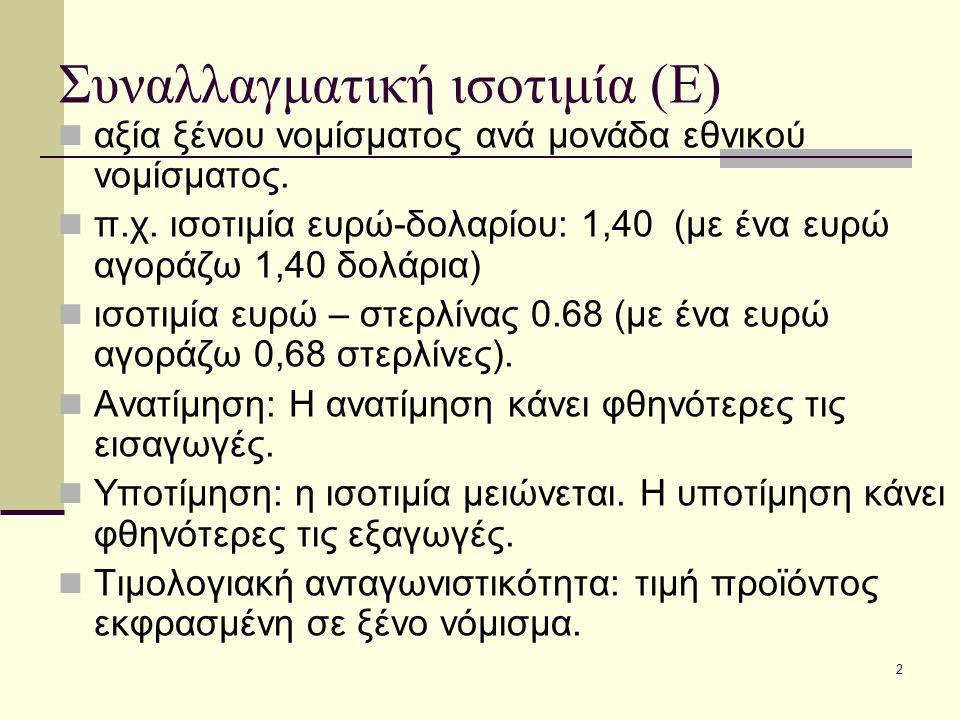 Συναλλαγματική ισοτιμία (Ε)