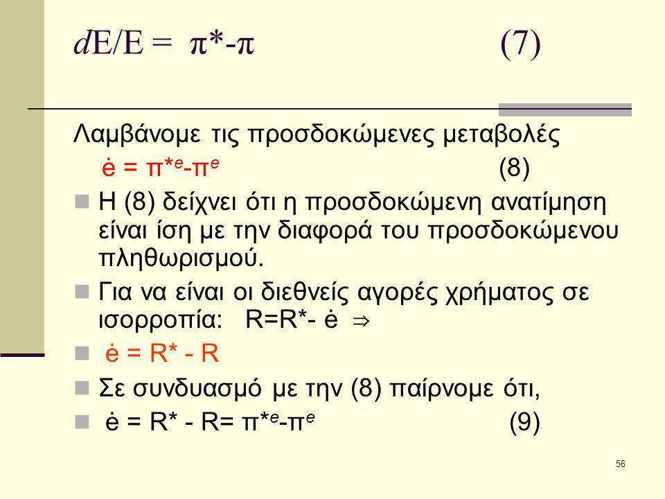 dE/E = π*-π (7) Λαμβάνομε τις προσδοκώμενες μεταβολές ė = π*e-πe (8)