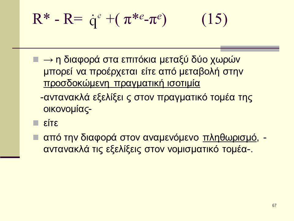 R* - R= +( π*e-πe) (15)