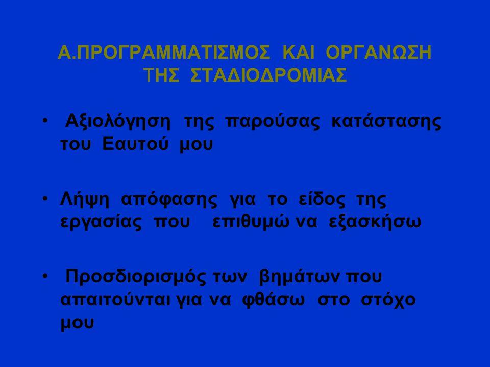 Α.ΠΡΟΓΡΑΜΜΑΤΙΣΜΟΣ ΚΑΙ ΟΡΓΑΝΩΣΗ ΤΗΣ ΣΤΑΔΙΟΔΡΟΜΙΑΣ